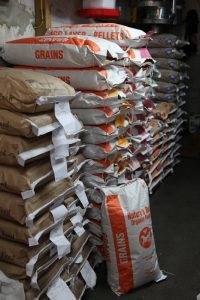 bags of nature's best organic feeds grains