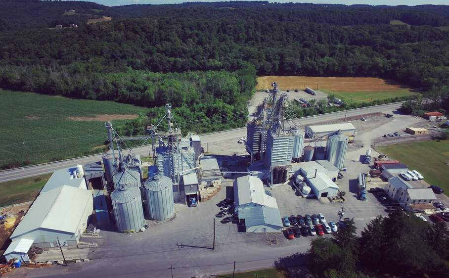 aerial photograph of kreamer feeds mill