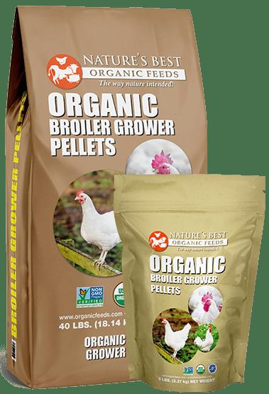 2 brown bags of organic broiler grower pellets