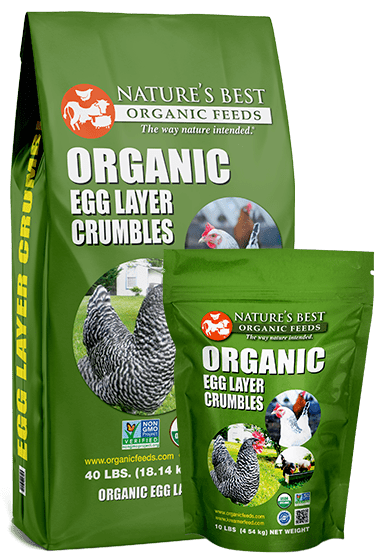 2 green bags of organic egg layer crumbles