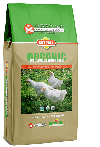 green and brown bag of soy free organic broiler grower feed