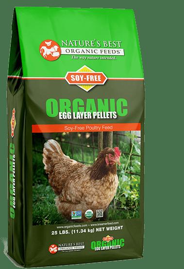 green bag of soy free organic egg layer pellets