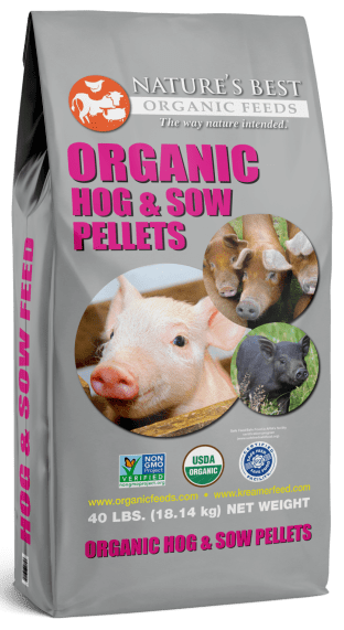 silver bag of organic hog and sow pellets