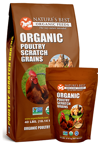 2 brown bags of organic poultry scratch grains