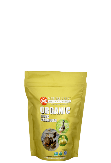 yellow bag of organic duck crumbles