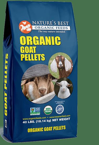 blue bag of organic goat pellets